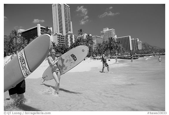 Women carrying surfboards into the water, Waikiki Beach. Waikiki, Honolulu, Oahu island, Hawaii, USA (black and white)
