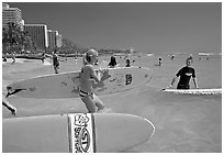 Surfers entering the water with boards, Waikiki Beach. Waikiki, Honolulu, Oahu island, Hawaii, USA (black and white)