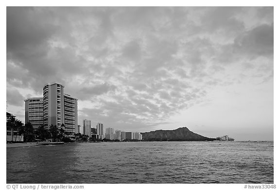 Skyline and Diamond Head, sunset. Waikiki, Honolulu, Oahu island, Hawaii, USA (black and white)