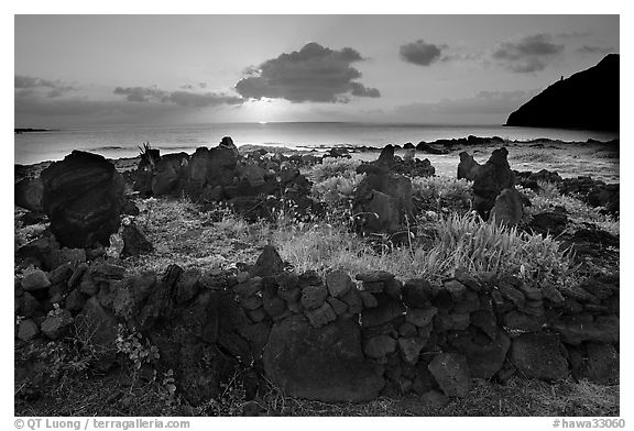 Heiau at sunrise near Makapuu Beach. Oahu island, Hawaii, USA (black and white)