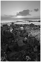 Oahu island, Hawaii, USA (black and white)
