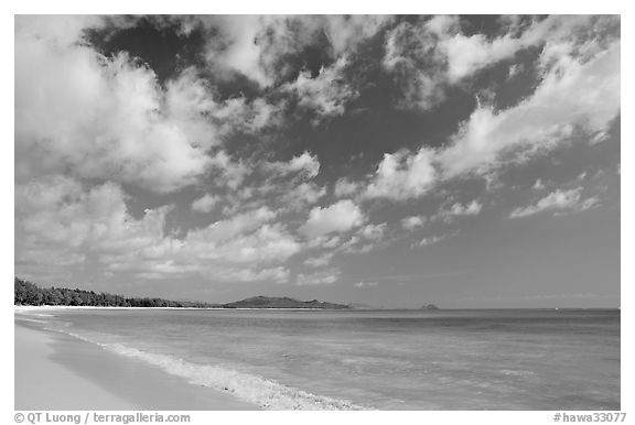 Waimanalo Beach and ocean with turquoise waters and clouds. Oahu island, Hawaii, USA (black and white)