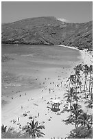 Hanauma Bay beach with people. Oahu island, Hawaii, USA ( black and white)