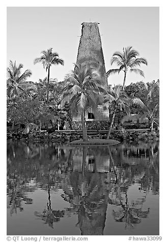 Fijian Bure Kalou, sprit house with high-reaching roof. Polynesian Cultural Center, Oahu island, Hawaii, USA (black and white)