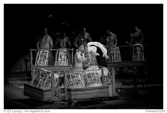 Tonga drummers on stage. Polynesian Cultural Center, Oahu island, Hawaii, USA (black and white)