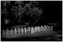 Tonga dancers on stage. Polynesian Cultural Center, Oahu island, Hawaii, USA (black and white)