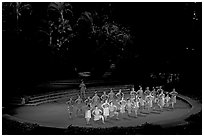 Maori dancers. Polynesian Cultural Center, Oahu island, Hawaii, USA (black and white)