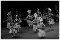 Tahitian celebration dance. Polynesian Cultural Center, Oahu island, Hawaii, USA (black and white)