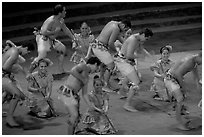 Dance performed by Samoa islanders. Polynesian Cultural Center, Oahu island, Hawaii, USA ( black and white)