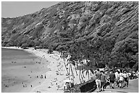 Hanauma Bay beach. Oahu island, Hawaii, USA (black and white)