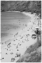 Hanauma Bay beach from above. Oahu island, Hawaii, USA ( black and white)