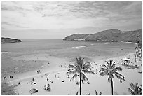 Hanauma Bay and beach. Oahu island, Hawaii, USA ( black and white)