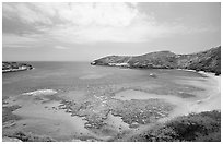Hanauma Bay with no people. Oahu island, Hawaii, USA ( black and white)