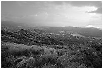 Diamond Head crater, early morning. Oahu island, Hawaii, USA ( black and white)