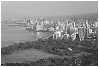 Honolulu seen from the Diamond Head crater, early morning. Waikiki, Honolulu, Oahu island, Hawaii, USA (black and white)