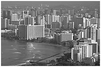 Waikiki seen from the Diamond Head crater, early morning. Waikiki, Honolulu, Oahu island, Hawaii, USA (black and white)