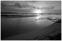 Mouth of the Wailua River, sunrise. Kauai island, Hawaii, USA (black and white)