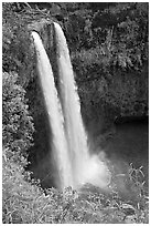 Wailua Falls, mid-morning. Kauai island, Hawaii, USA ( black and white)