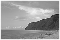 Campers and tire tracks in the sand, Polihale Beach, sunset. Kauai island, Hawaii, USA ( black and white)