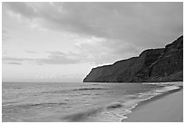 Polihale Beach and Na Pali coast,  sunset. Kauai island, Hawaii, USA (black and white)