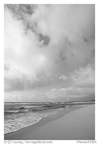 Beach, ocean, and clouds, Lydgate Park, early morning. Kauai island, Hawaii, USA (black and white)