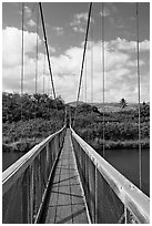 Wooden swinging bridge, Hanapepe. Kauai island, Hawaii, USA ( black and white)