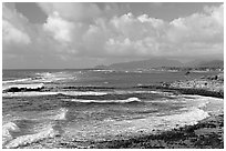 Coastline north of Kapaa with Sleeping Giant profile, early morning. Kauai island, Hawaii, USA (black and white)