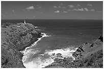 Kilauea Lighthouse and cove. Kauai island, Hawaii, USA (black and white)