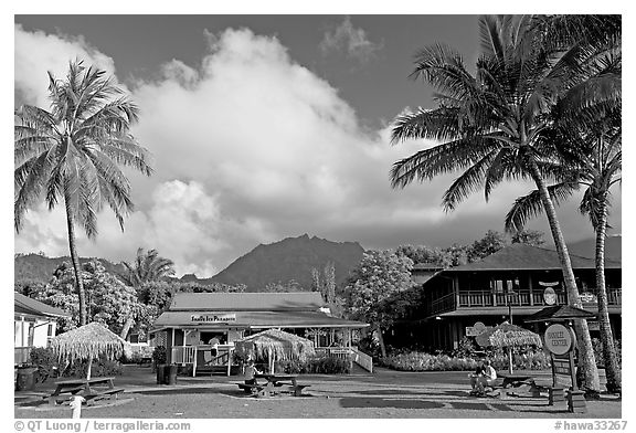 Hanalei downtown. Kauai island, Hawaii, USA (black and white)