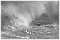 Breaking wave. North shore, Kauai island, Hawaii, USA (black and white)