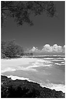 Beach, volcanic rock, and turquoise waters, and homes  near Haena. North shore, Kauai island, Hawaii, USA (black and white)