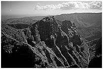 Aerial view of Waimea Canyon. Kauai island, Hawaii, USA ( black and white)