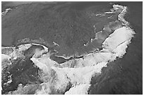 Aerial view of surf. Kauai island, Hawaii, USA (black and white)