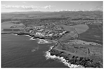 Aerial view of Port Allen. Kauai island, Hawaii, USA (black and white)