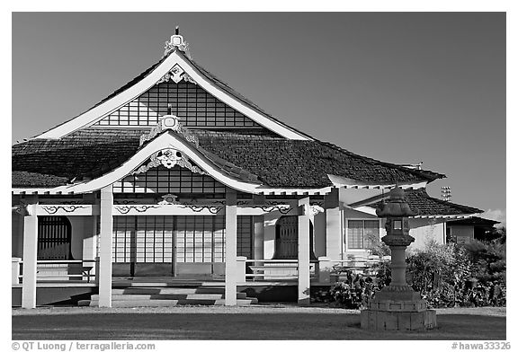 Zen temple, Hanapepe. Kauai island, Hawaii, USA (black and white)