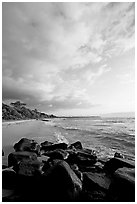 Boulders and beach, Lydgate Park, sunrise. Kauai island, Hawaii, USA ( black and white)