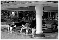 Swim-up bar, Princeville hotel. Kauai island, Hawaii, USA ( black and white)