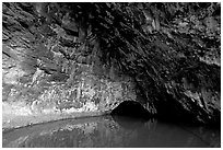 Waikanaloa wet cave. North shore, Kauai island, Hawaii, USA (black and white)