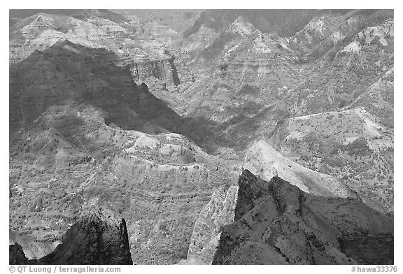 Shadows across Waimea Canyon, afternoon. Kauai island, Hawaii, USA (black and white)