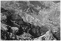 Waimea Canyon, afternoon. Kauai island, Hawaii, USA ( black and white)