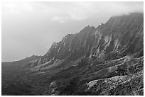 Kalalau Valley and clouds, late afternoon. Kauai island, Hawaii, USA (black and white)