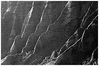 Ridges, Kalalau Valley, sunset. Kauai island, Hawaii, USA ( black and white)