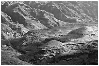 Ridges and buttes, lower Waimea Canyon, early morning. Kauai island, Hawaii, USA ( black and white)