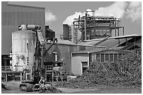 Sugar cane factory. Kauai island, Hawaii, USA ( black and white)