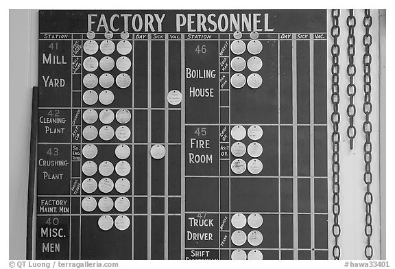 Factory personnel board, sugar cane mill. Kauai island, Hawaii, USA (black and white)