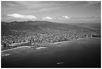 Aerial view. Waikiki, Honolulu, Oahu island, Hawaii, USA (black and white)
