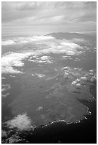 Aerial view of Kohoolawe, Maui in the background. Maui, Hawaii, USA (black and white)
