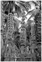 Polynesian idols, Puuhonua o Honauau National Historical Park. Big Island, Hawaii, USA (black and white)
