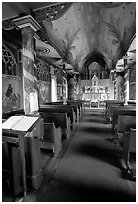 Interior of Saint Benedict Catholic Church called Painted Church. Big Island, Hawaii, USA (black and white)