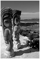 Statues of polynesian idols, Puuhonua o Honauau National Historical Park. Big Island, Hawaii, USA (black and white)